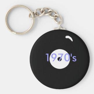 record, 1970's basic round button keychain