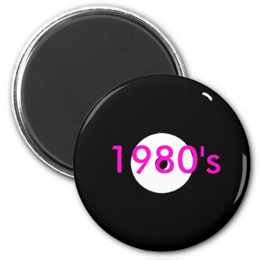 record, 1980's 2 inch round magnet