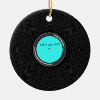 Record Album Double-Sided Ceramic Round Christmas Ornament