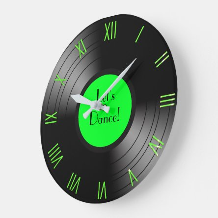 Record Album Let's Dance Novelty Roman Numerals Large Clock