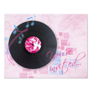 Record Album on Pink Dance Party Invitation
