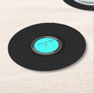 Record Album Round Paper Coaster