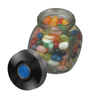 Record Blue Jelly Belly Candy Jar