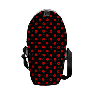 Record Collector Print in Black and Red Messenger Bag