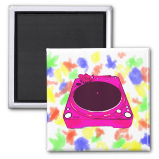 Record Player Pink Colour Graphic Magnet