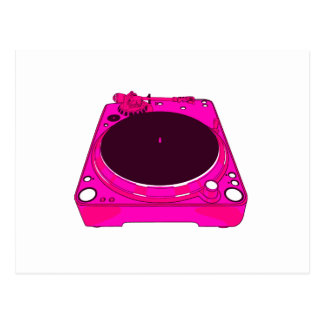 Record Player Pink Colour Graphic Postcard
