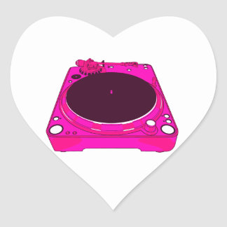 Record Player Pink Colour Graphic Heart Stickers