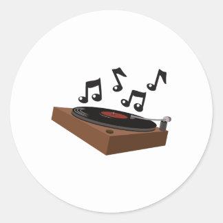 Record Player Round Sticker