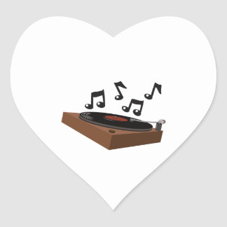 Record Player Heart Sticker