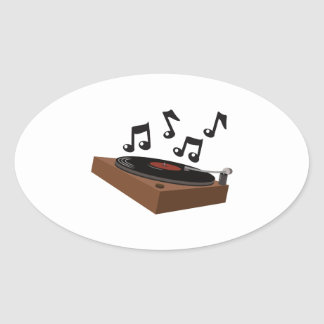 Record Player Oval Sticker