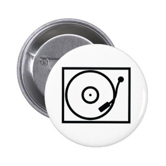 record player turntable icon pinback button