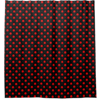 Record Print in Black and Red Shower Curtain