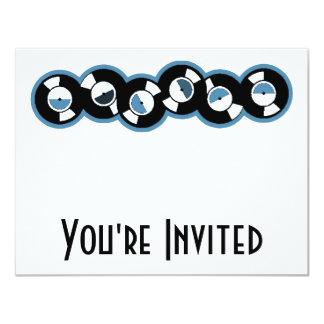 Record Row Blue 4.25x5.5 Paper Invitation Card
