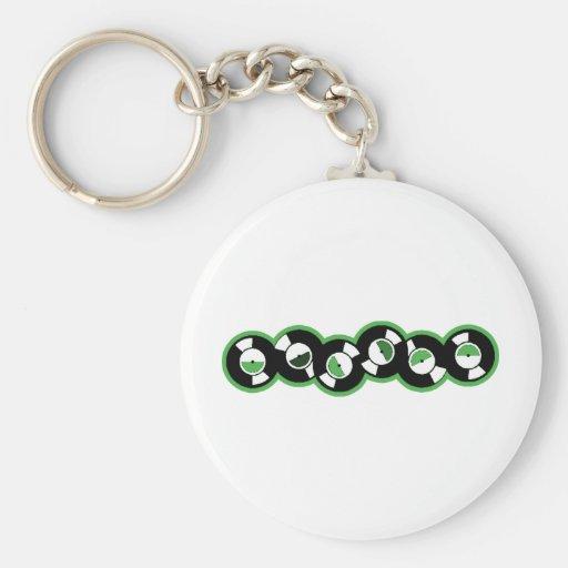 Record Row Green Basic Round Button Keychain