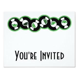 Record Row Green 4.25x5.5 Paper Invitation Card