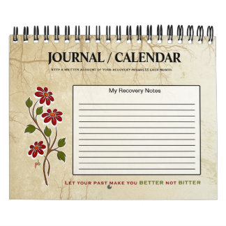 Record your progress-Floral Recovery Quote Journal Calendar