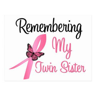 Recordando a mi hermana gemela - cáncer de pecho tarjetas postales