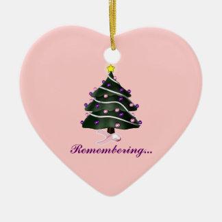 """""""Recordando."""" Cáncer del árbol de navidad/de pecho Adorno Navideño De Cerámica En Forma De Corazón"""