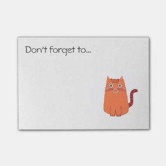 Recordatorio anaranjado lindo del gato del dibujo post-it® notas