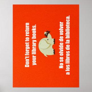 Recordatorio bilingüe del mensaje para volver los póster