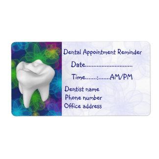 Recordatorio de la cita del dentista etiquetas de envío