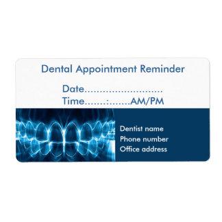 Recordatorio de la cita del dentista etiqueta de envío