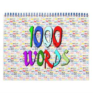 Recordatorio de mil palabras calendario de pared