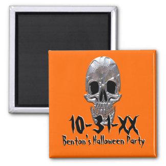 Recordatorio del fiesta de Halloween del cráneo Imán Cuadrado