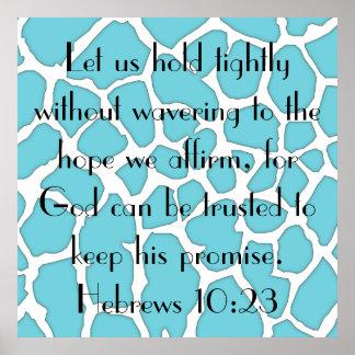 recordatorio hebreo del 10:23 del verso de la bibl póster