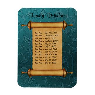 Recordatorio magnético del cumpleaños de la famili iman