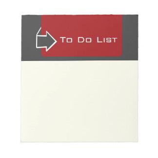 Recordatorio para hacer diseño de la flecha de la bloc de papel