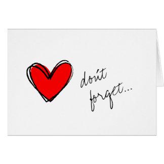 Recordatorio rojo del corazón tarjeta pequeña