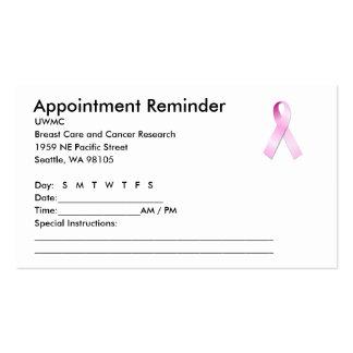 Recordatorio rosado de la cita de la cinta tarjetas de visita
