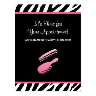 Recordatorio rosado de moda de la cita del salón tarjetas postales