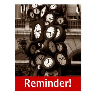 Recordatorio visual de la cita del tiempo de reloj postales