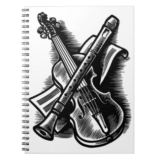 recorder and violin notebook