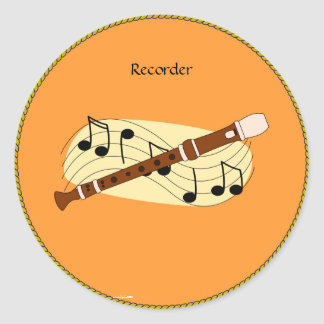 Recorder Classic Round Sticker