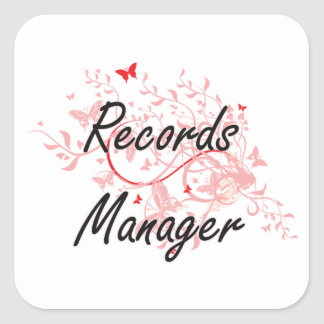 Records Manager Artistic Job Design with Butterfli Square Sticker