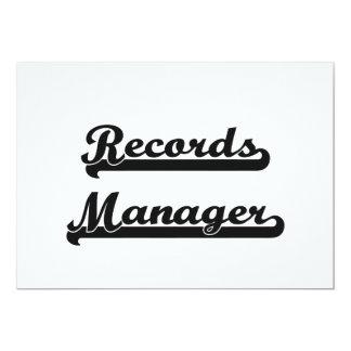 Records Manager Classic Job Design 5x7 Paper Invitation Card