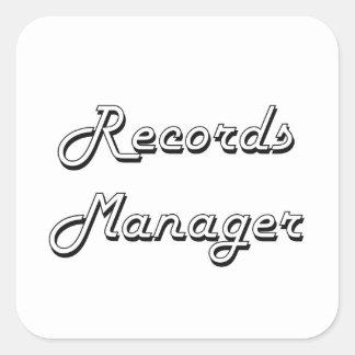 Records Manager Classic Job Design Square Sticker