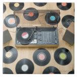Records on Floor 2 Ceramic Tile