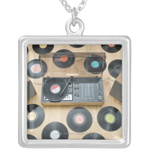 Records on Floor 2 Square Pendant Necklace