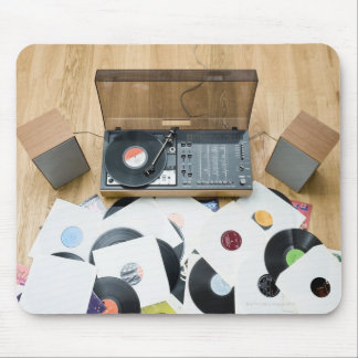 Records on Floor Mouse Pad