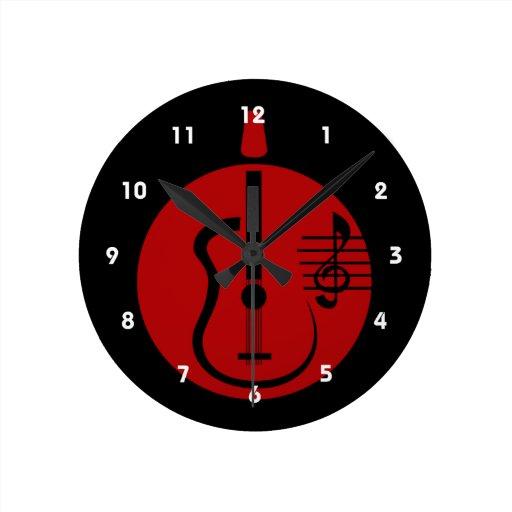 recorte abstracto de la guitarra con las notas red reloj
