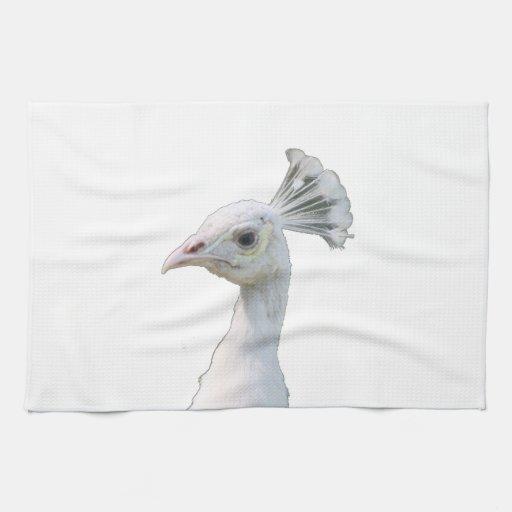 Recorte blanco de la cabeza del pavo real del albi toalla