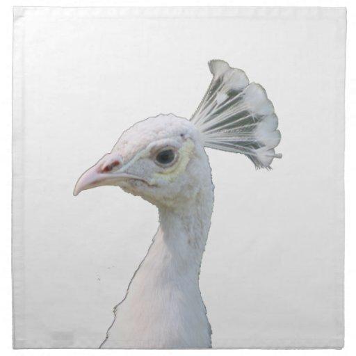 Recorte blanco de la cabeza del pavo real del albi servilletas
