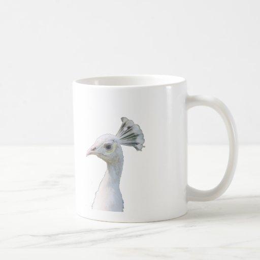 Recorte blanco de la cabeza del pavo real del albi taza