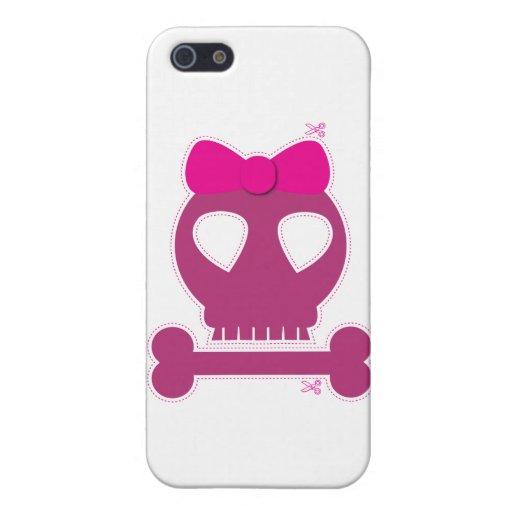 ¡RECORTE! chica rosado del cráneo iPhone 5 Carcasas