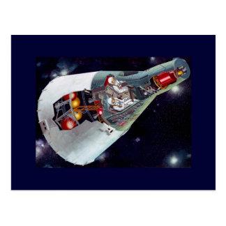 Recorte de la nave espacial de los géminis tarjeta postal