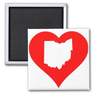 Recorte del corazón de Ohio Imán Cuadrado